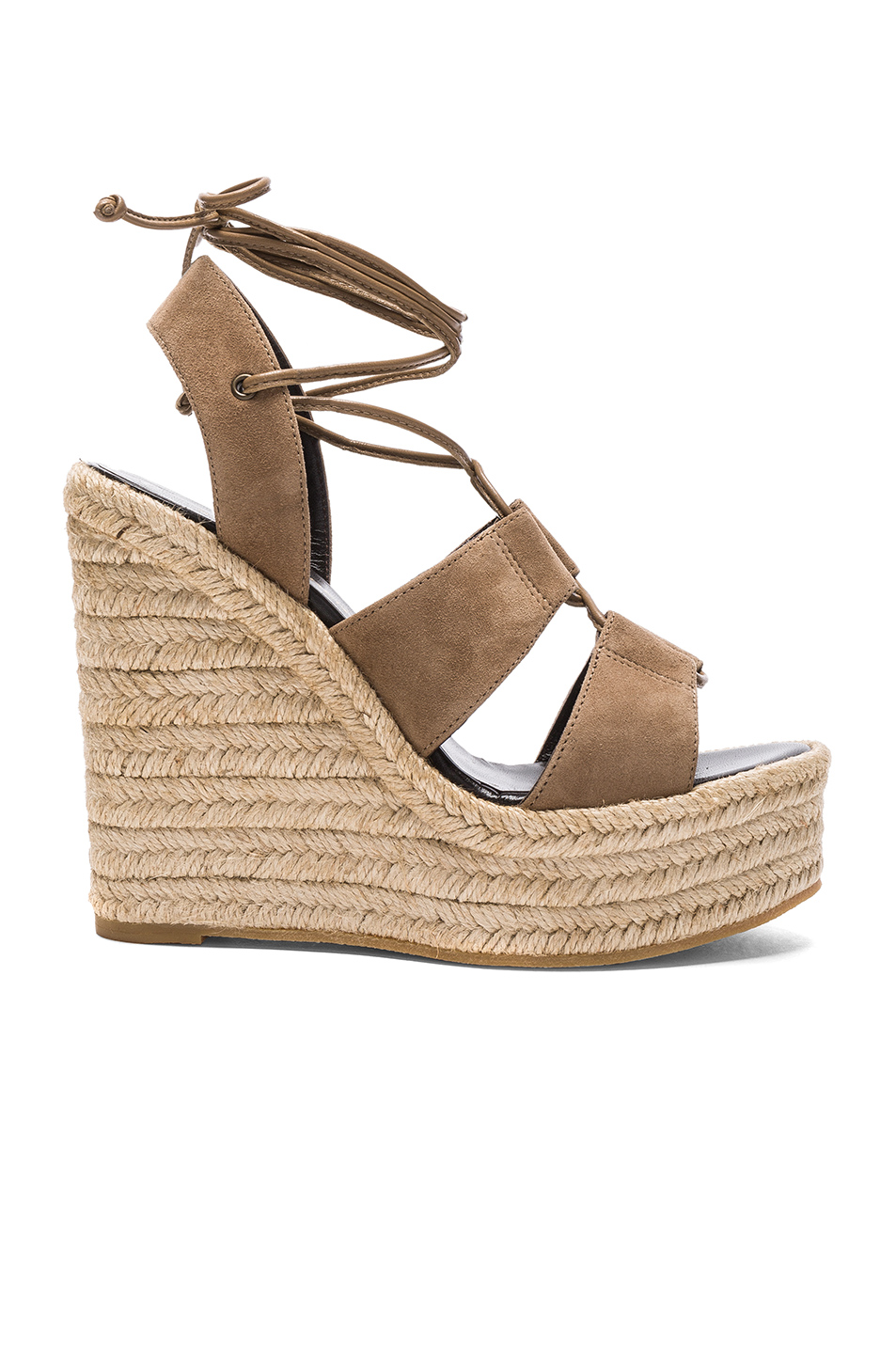 Saint Laurent Suede Espadrille Wedges in Neutrals