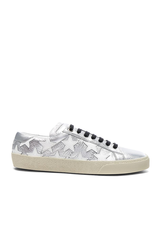 Saint Laurent Court Classic Star Leather Sneakers in Metallics
