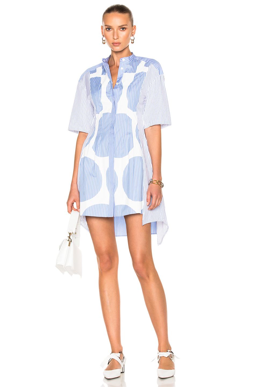 Stella McCartneyStripe Shirting Short Sleeve Dress in Blue,Stripes