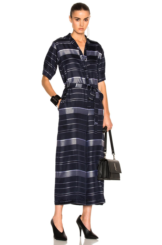 Stella McCartneySatin Stripe Jumpsuit in Blue,Stripes,White
