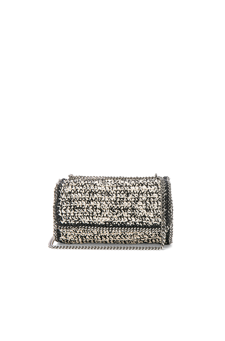 Stella McCartneyFalabella Crochet Shoulder Bag in Black,White