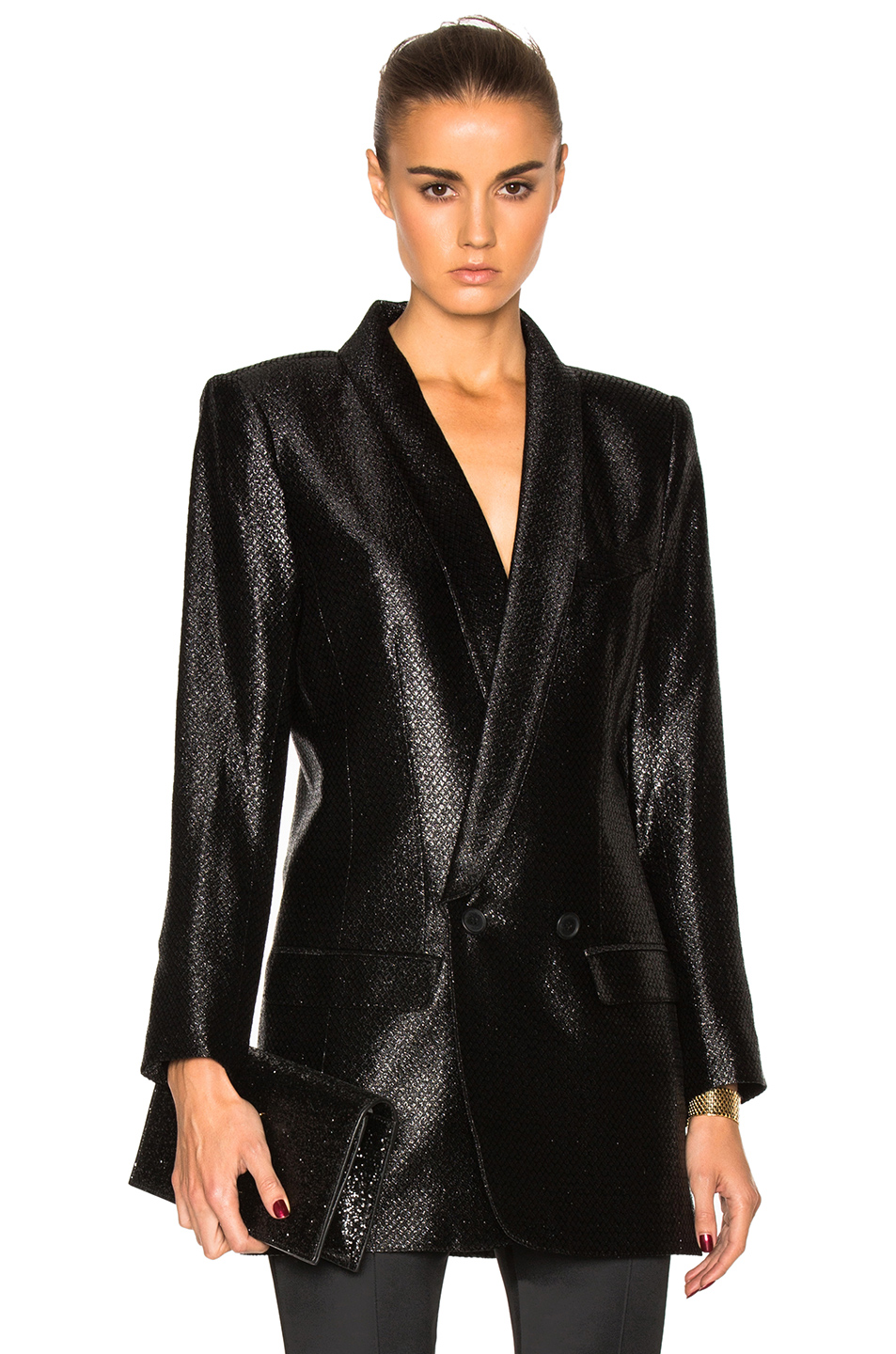 Smythe Oversized Blazer in Black,Metallics