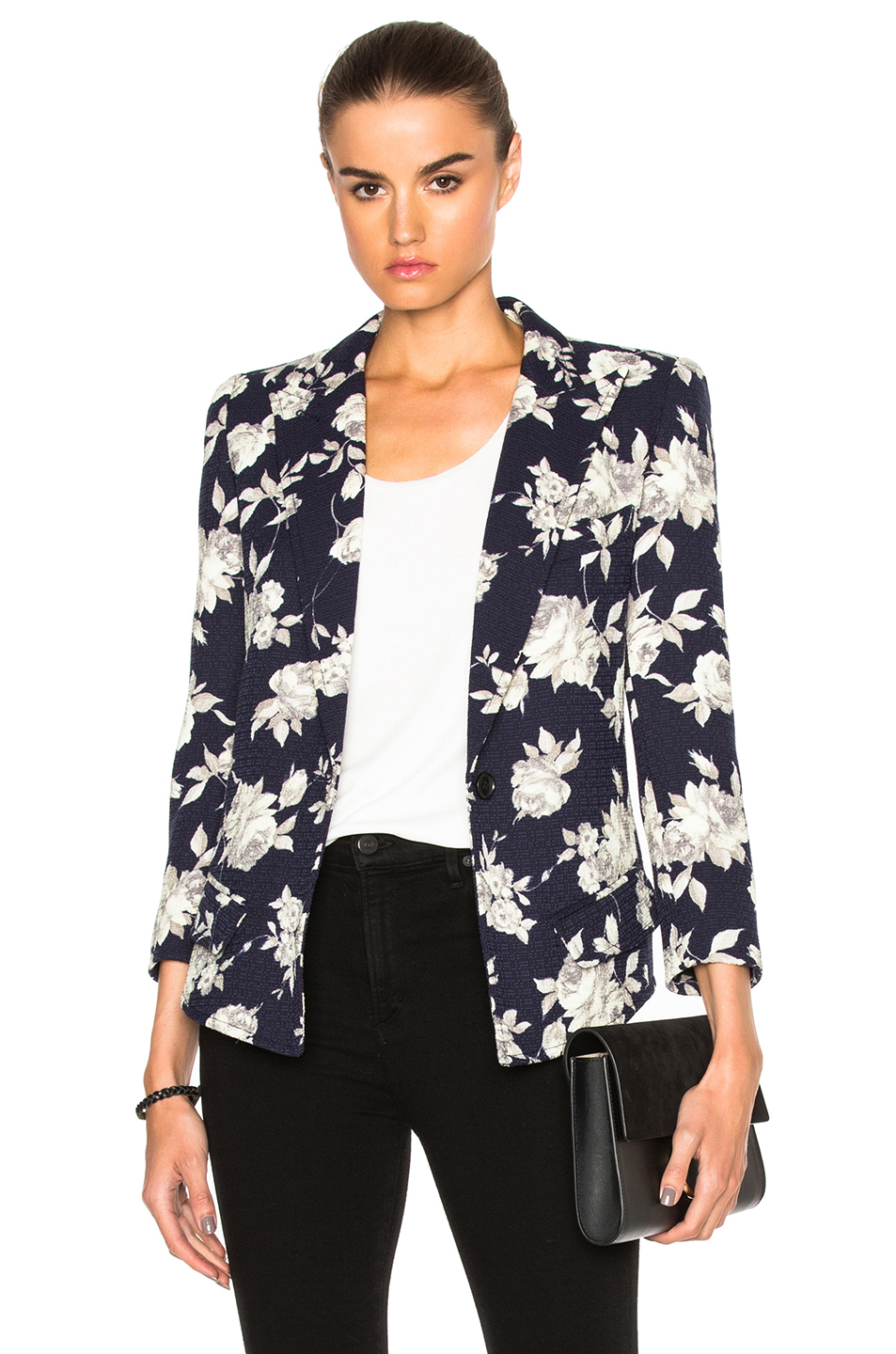 Smythe Sharp Shoulder Blazer in Blue,Floral