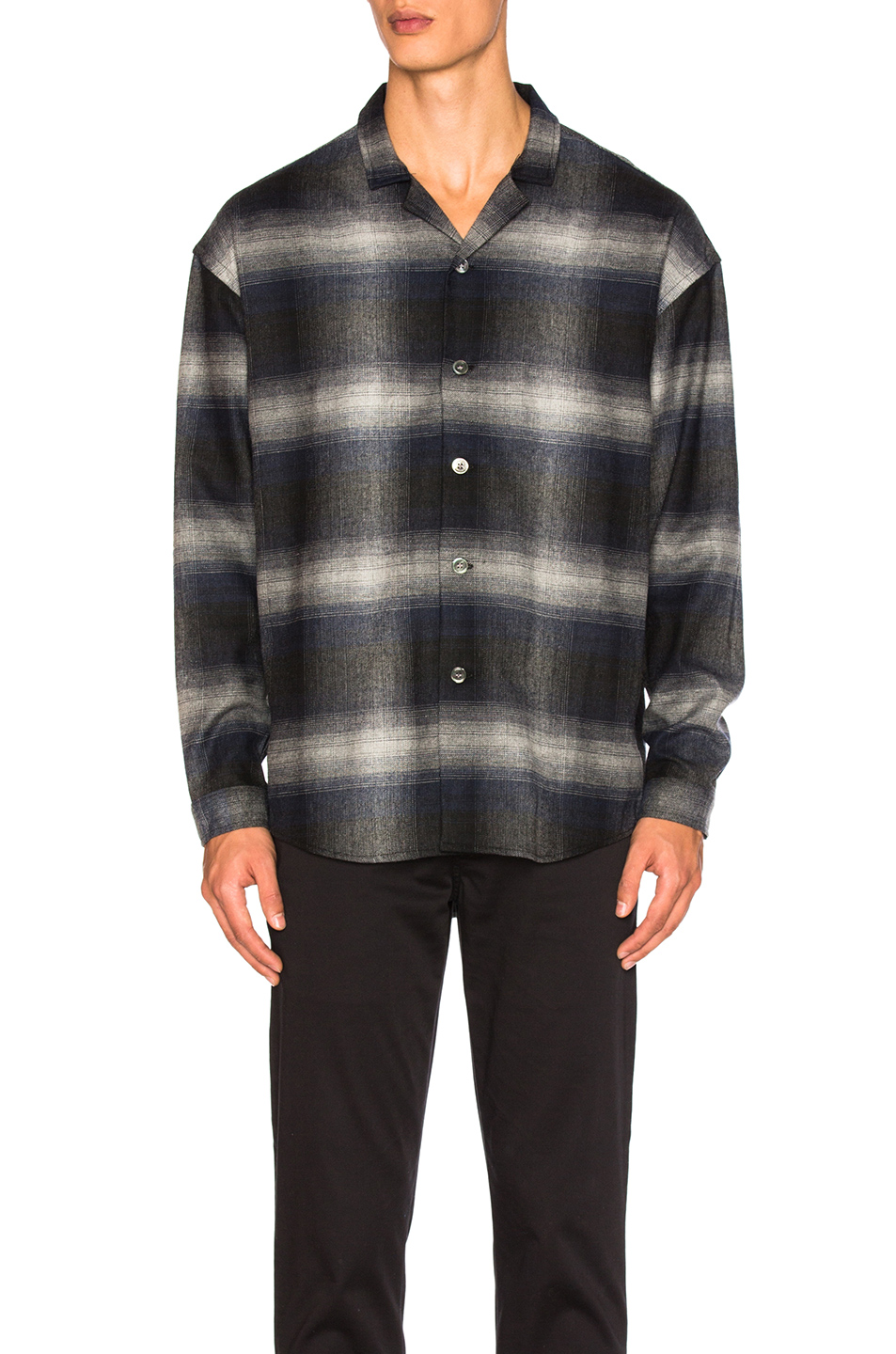 Second/Layer Camp Collar Oversize Shirt Jacket in Black,Checkered & Plaid