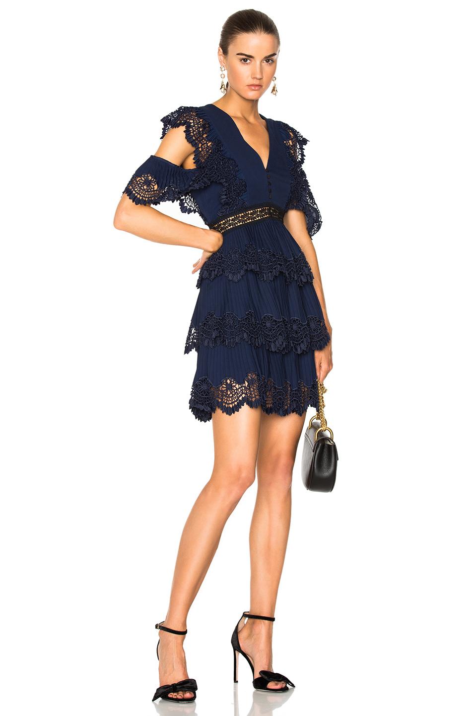 self-portrait Tiered Embroidered Gazar Mini Dress in Blue