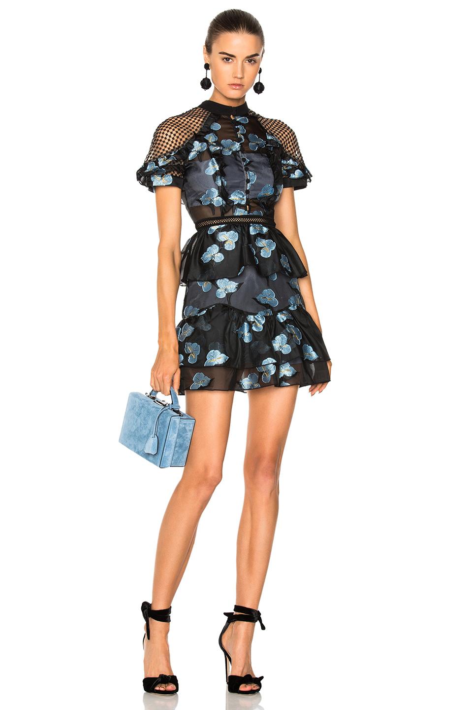 self-portrait Fil Coupe Open Back Cape Mini Dress in Black,Floral