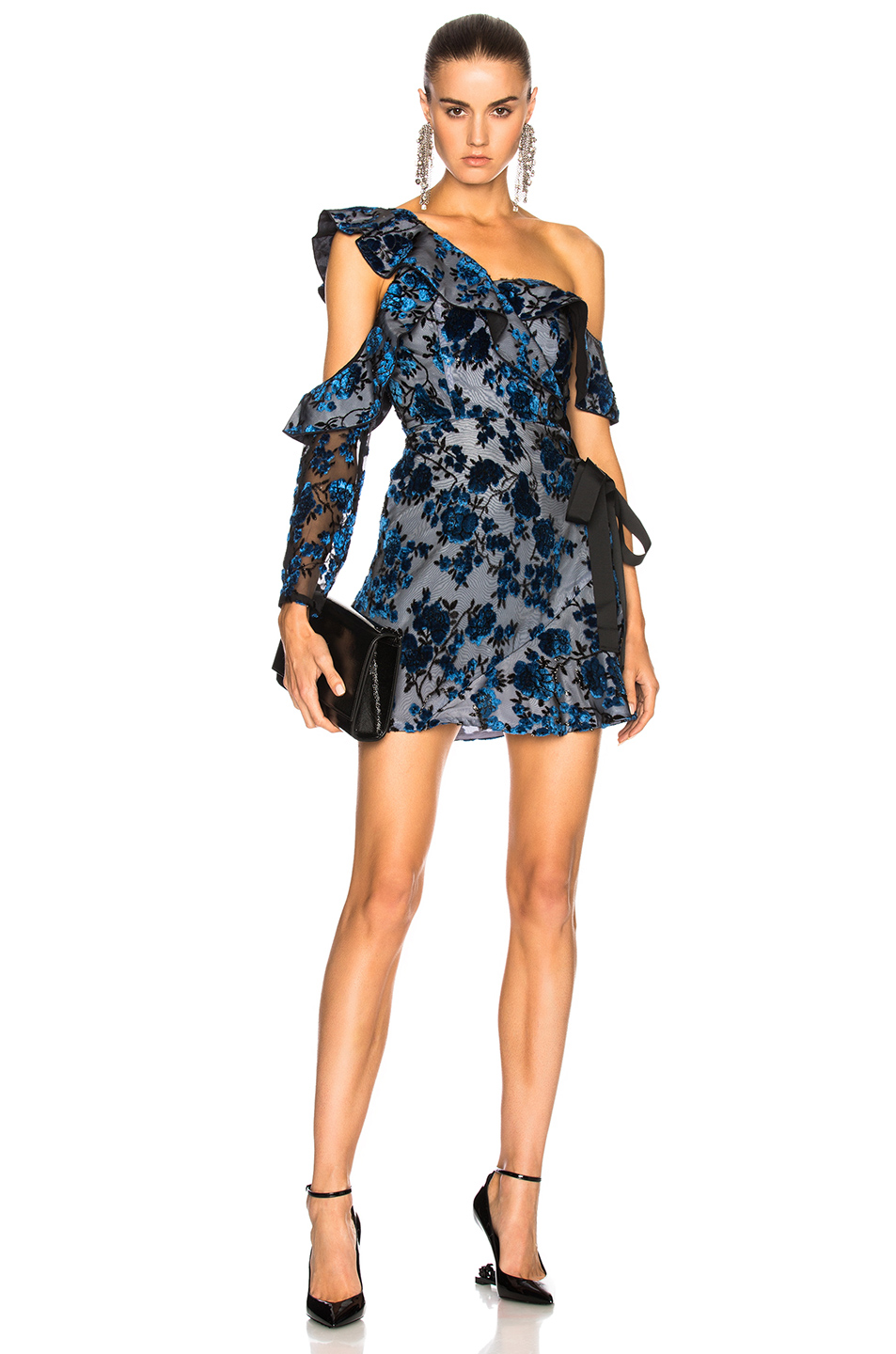 self-portrait Eyelet Wrap Mini Dress in Black,Blue,Floral