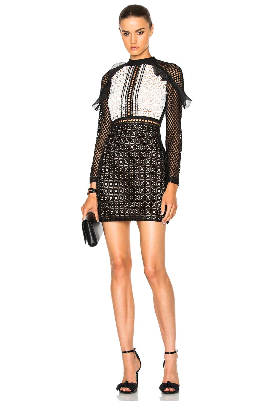 self-portrait Geometric Monochrome Mini Dress in Black