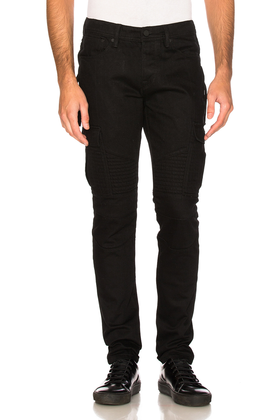 Stampd Cargo Zip Moto Denim in Black