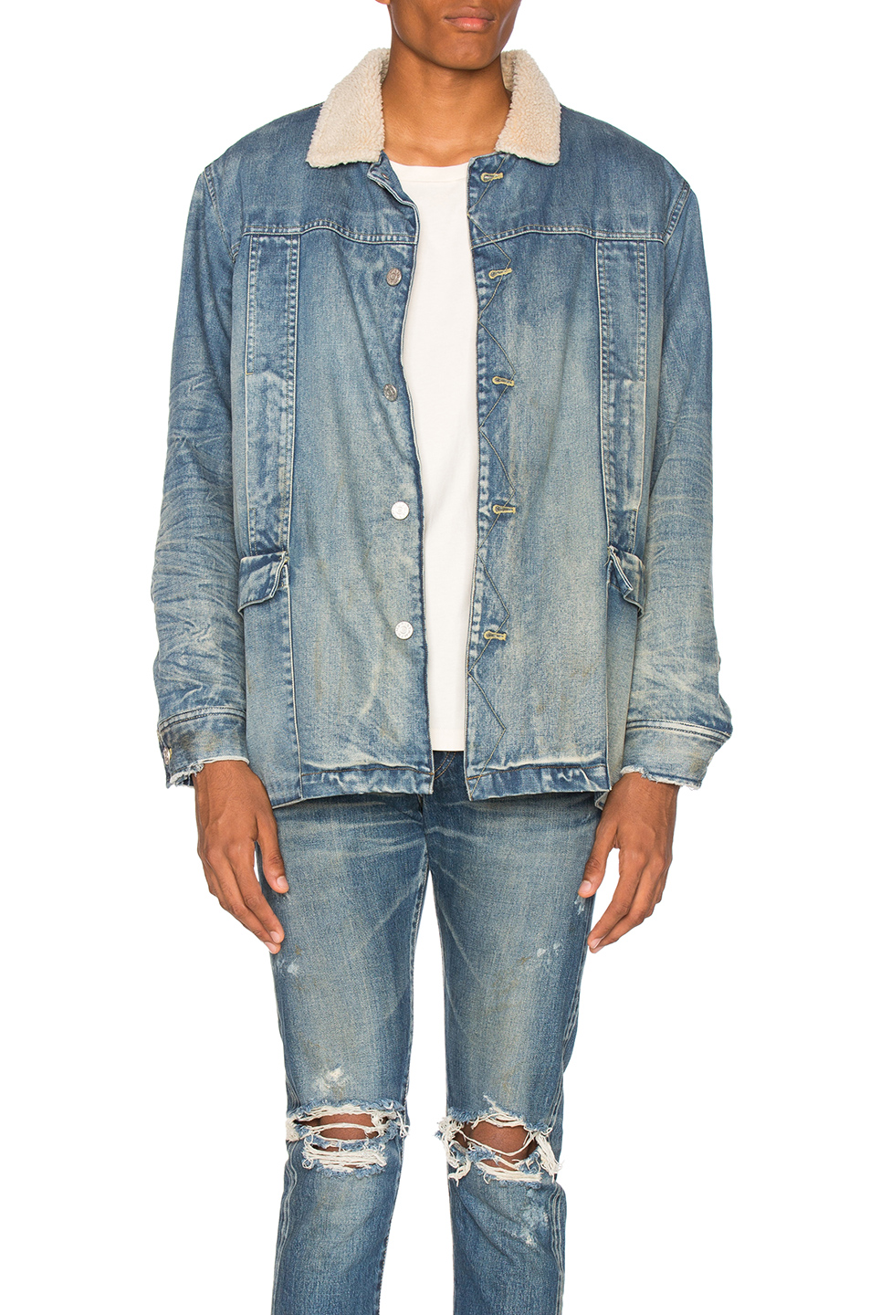 Stampd Fleece Lined Denim Jacket in Blue