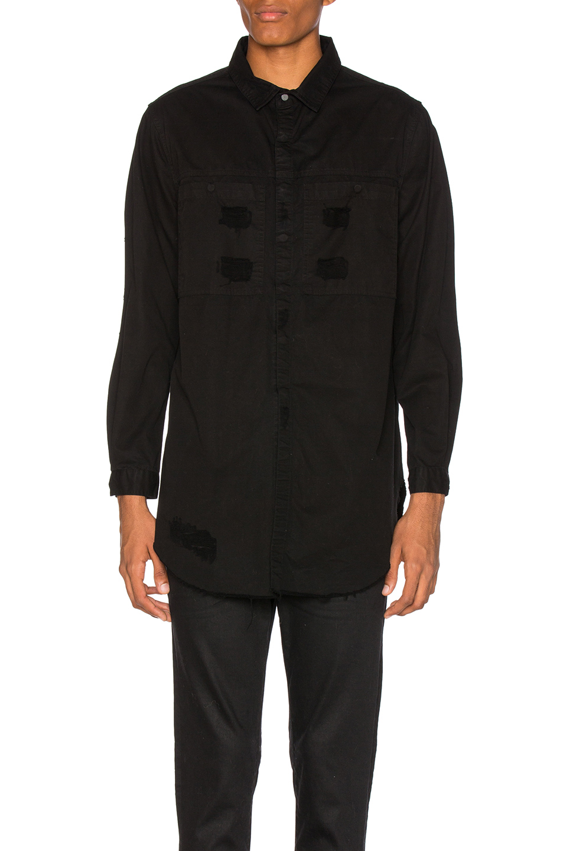 Stampd Distressed Denim Shirt in Black
