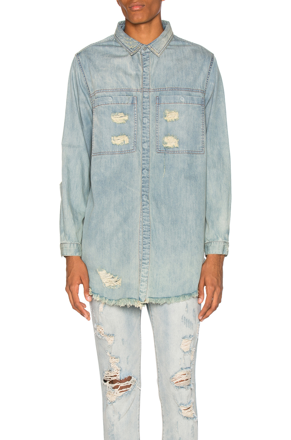 Stampd Distressed Denim Shirt in Blue