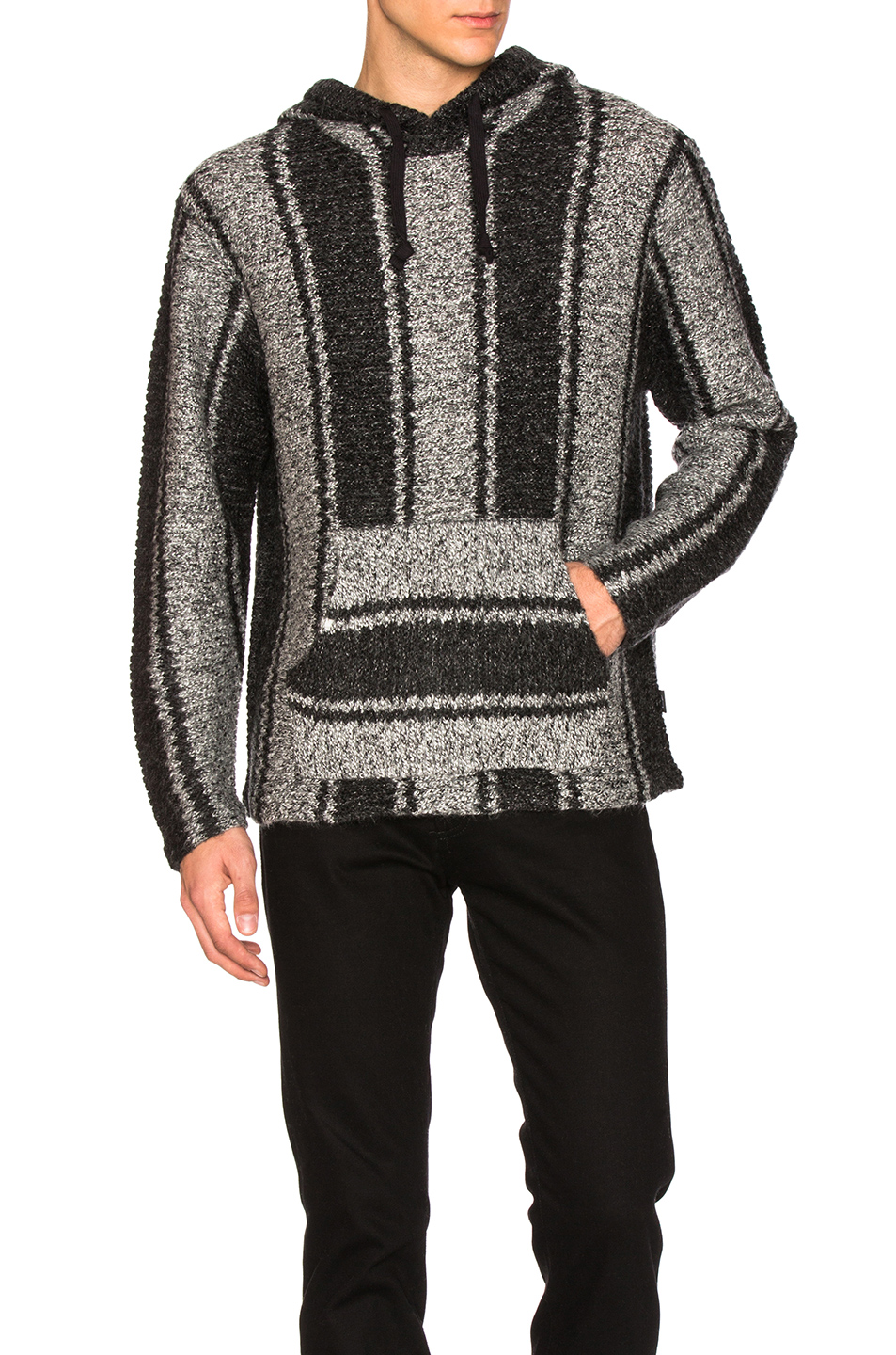 Stussy Chunky Knit Drug Rug Sweater in Gray,Stripes