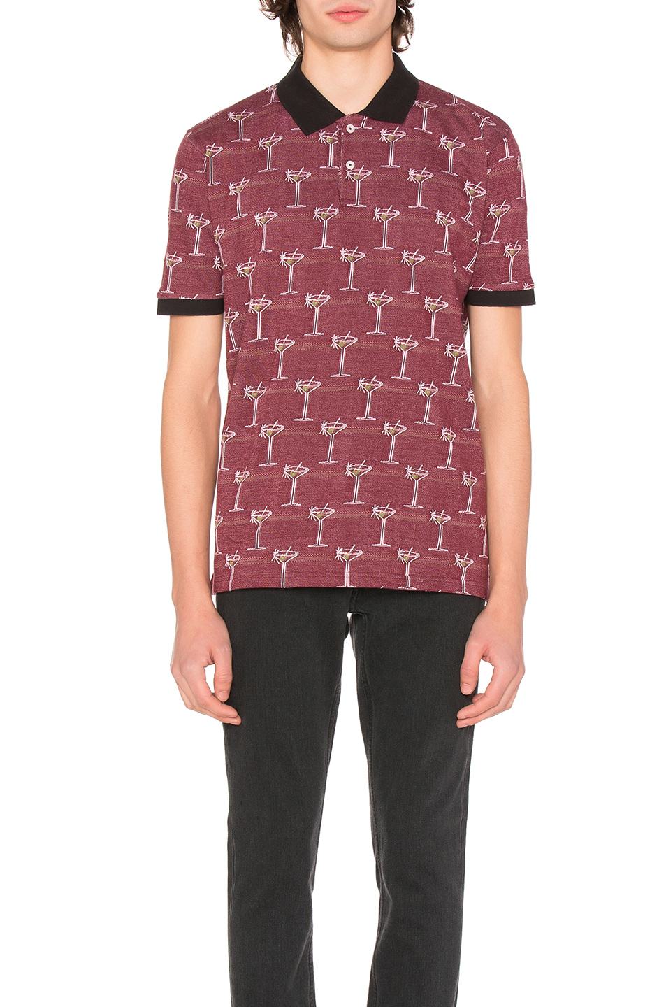 Stussy Martini Jacquard Polo in Red