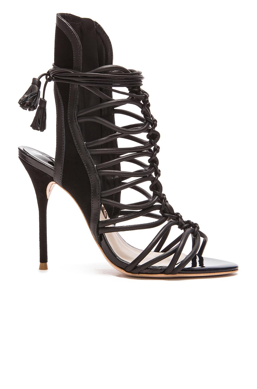 Sophia Webster Lacey Leather Heels in Black