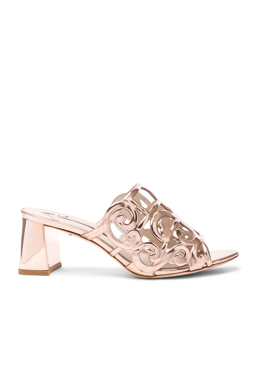 Sophia Webster Leather Birdie Mules in Metallics,Pink