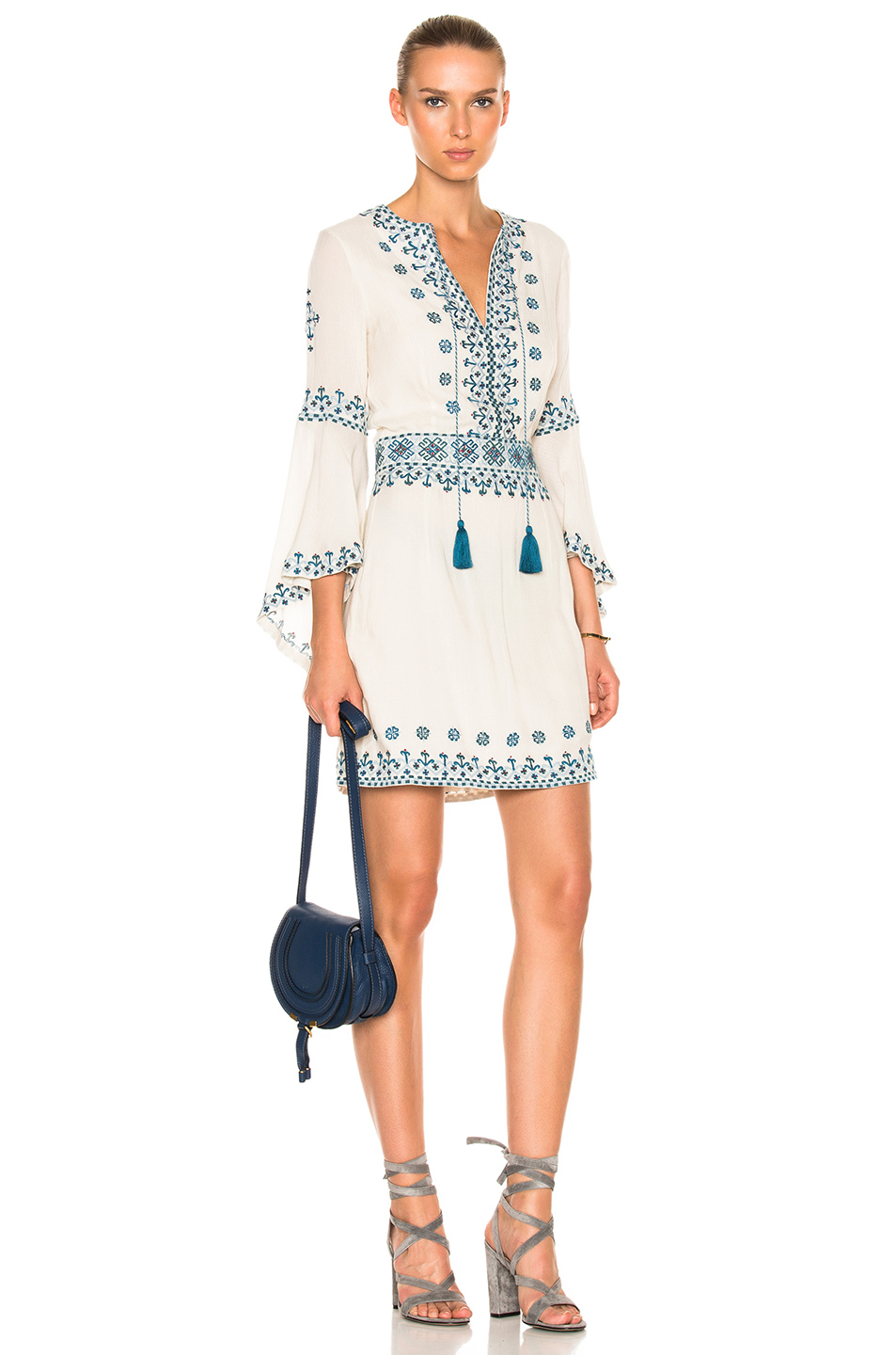 Talitha Anya Embroidered Drill Sleeve Dress in Abstract,Blue,Green,Neutrals