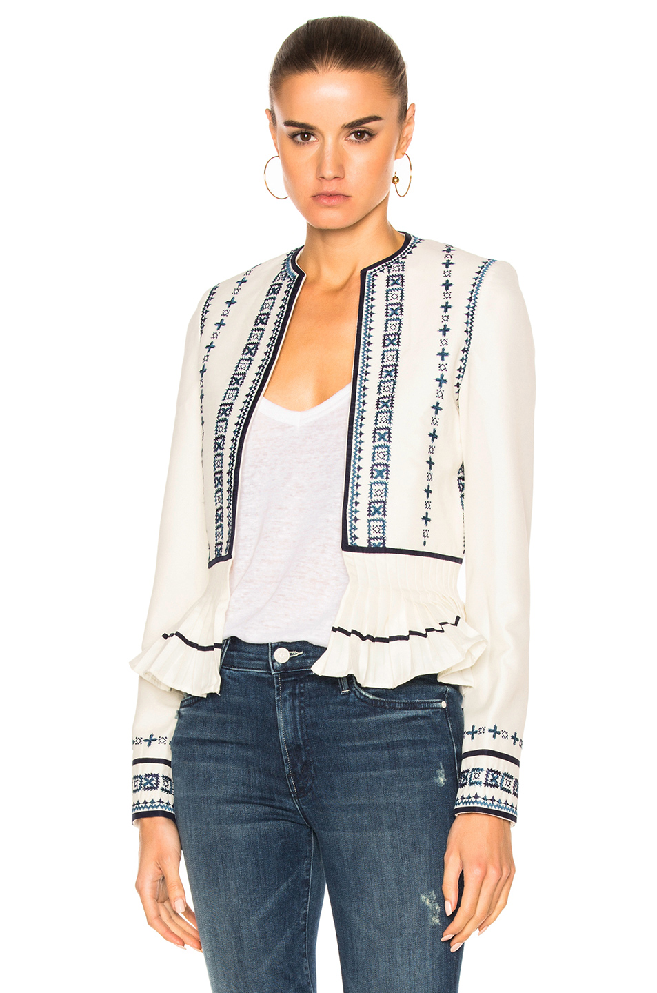 Talitha Pleated Peplum Jacket in Abstract,Blue,White