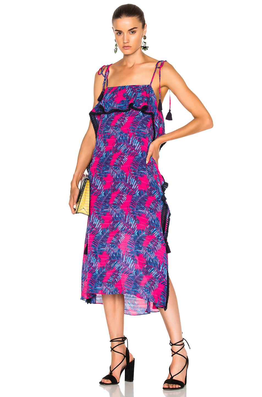 Tanya Taylor Palms Josefina Dress in Abstract,Blue,Pink