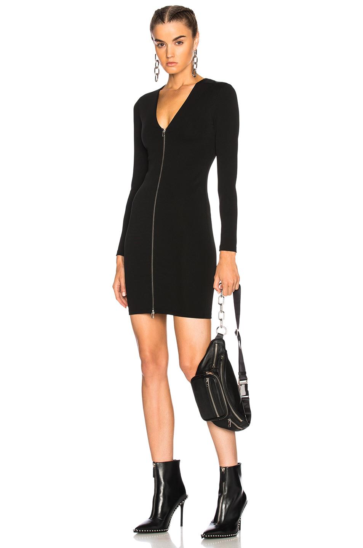 T by Alexander Wang Ponte Long Sleeve Dress in Black