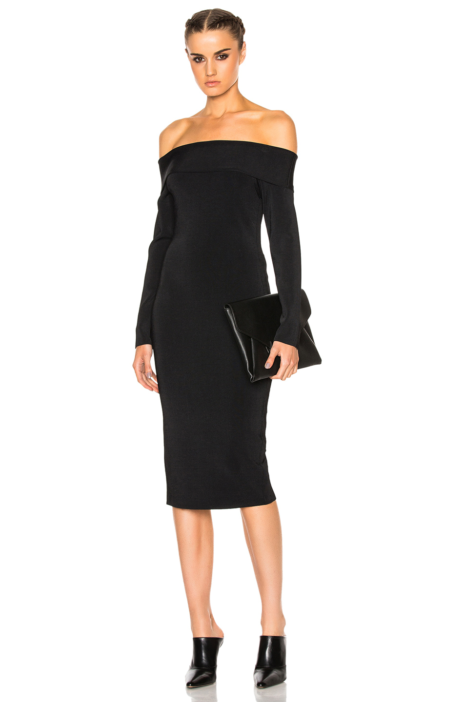 T by Alexander Wang Off The Shoulder Long Sleeve Dress in Black