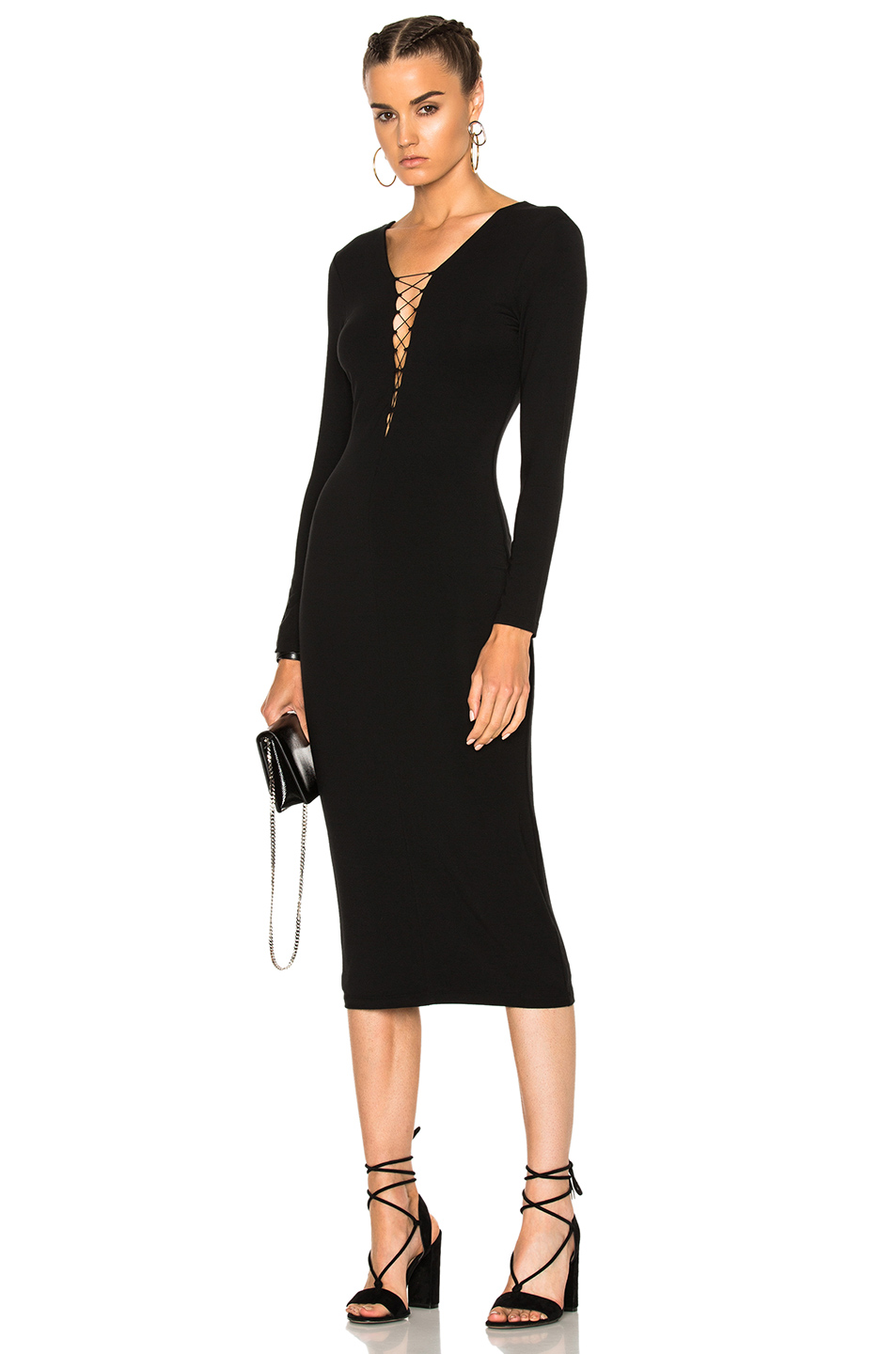 T by Alexander Wang Micro Modal Spandex Lace Up Midi Long Sleeve Dress in Black