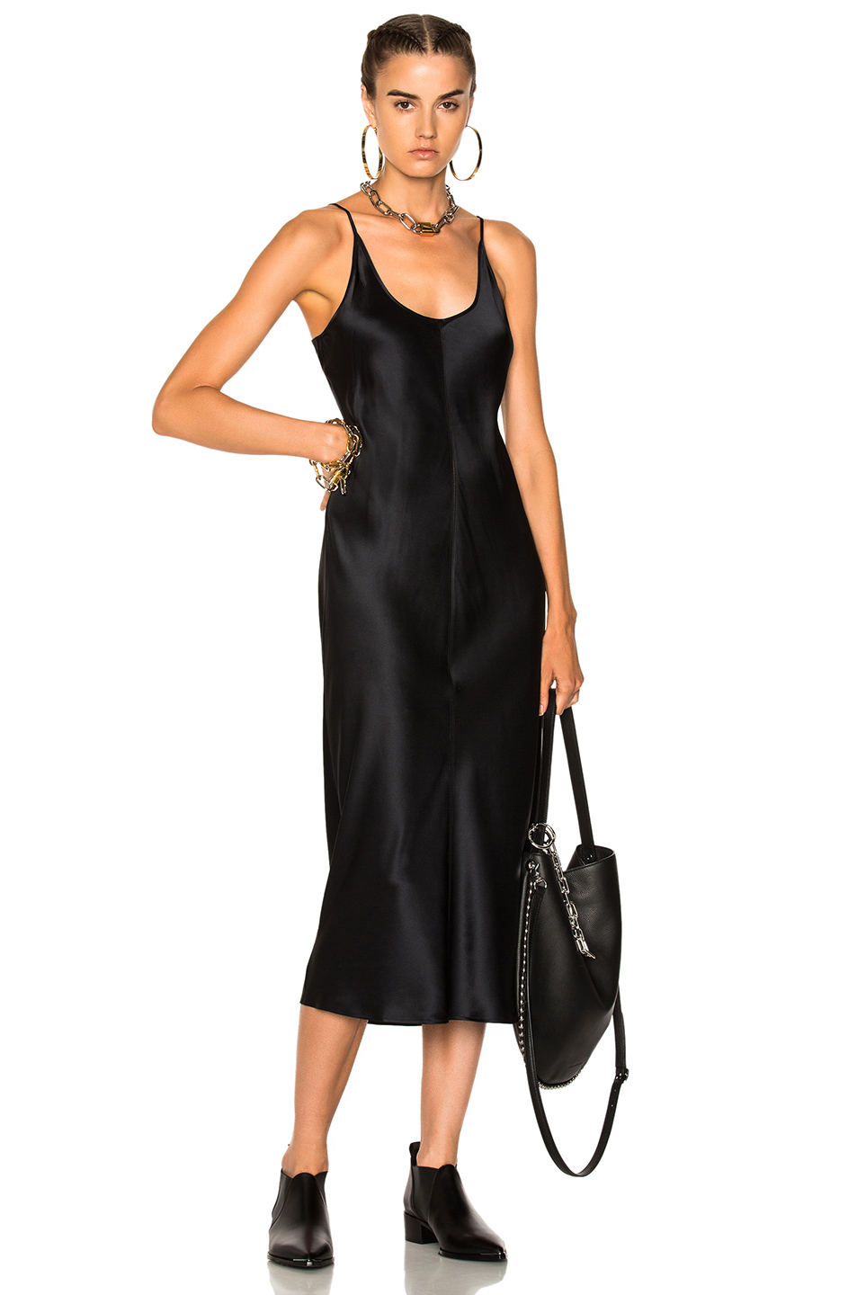 T by Alexander Wang Slip Dress with Threadwork in Black