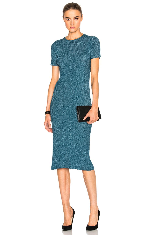 Tibi Marcel Dress in Blue,Metallics