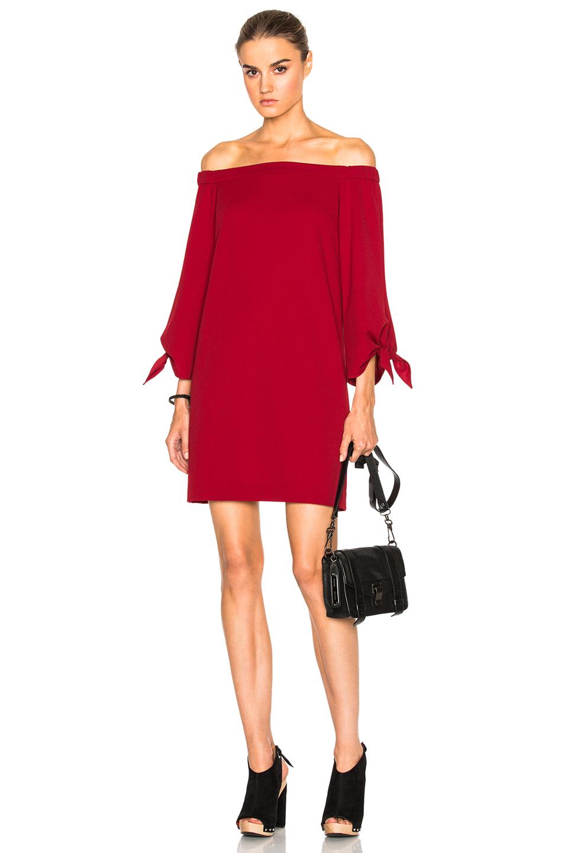 Tibi Off The Shoulder Dress in Red