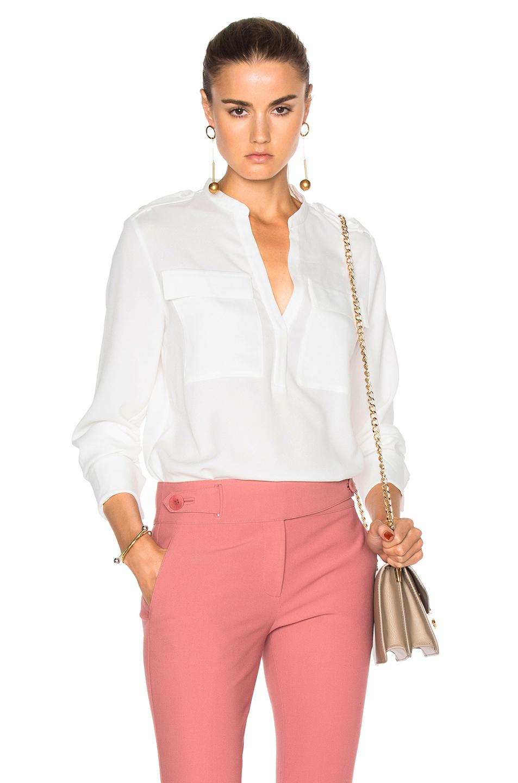 Tibi French Cuff Bodysuit in White