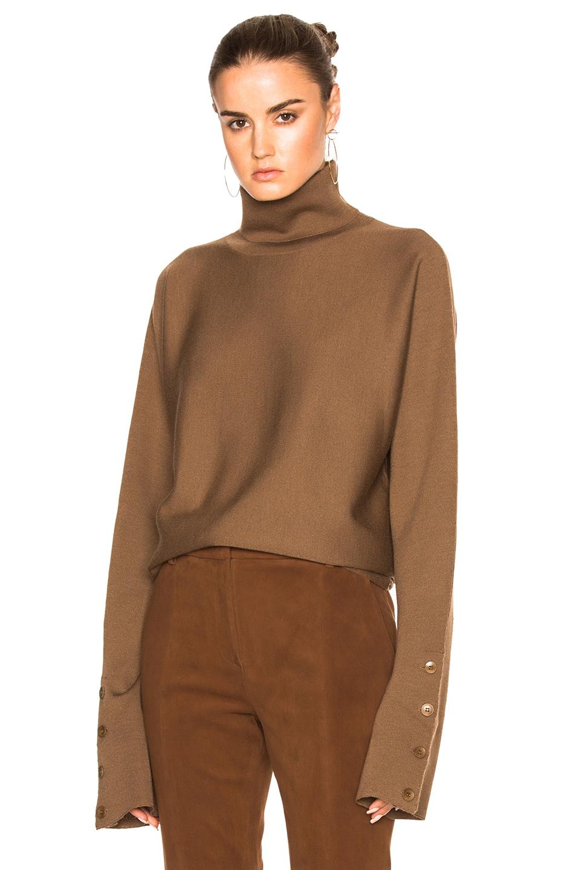 Tibi Turtleneck Sweater in Brown