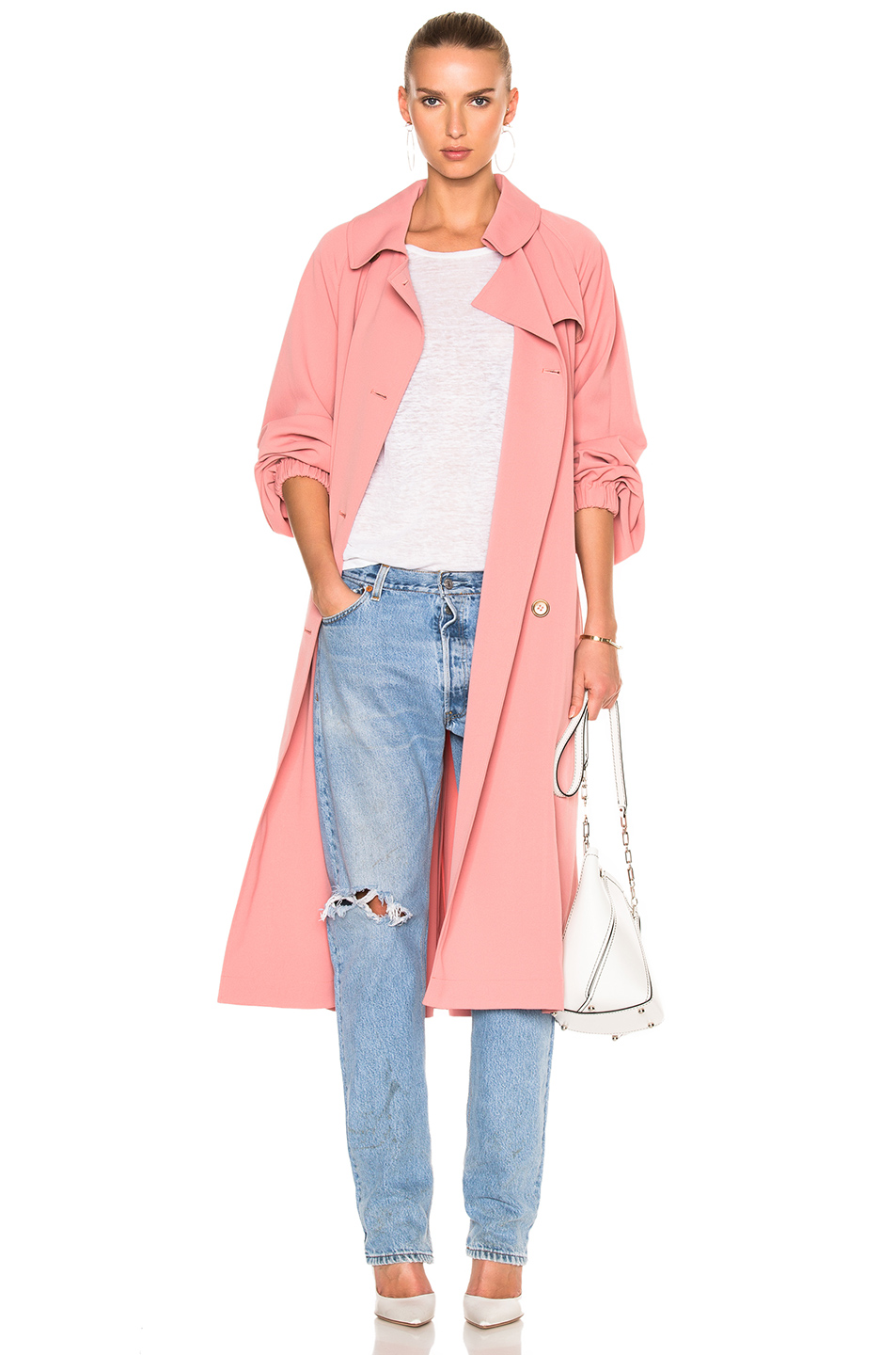 Tibi Twill Trench Coat in Pink