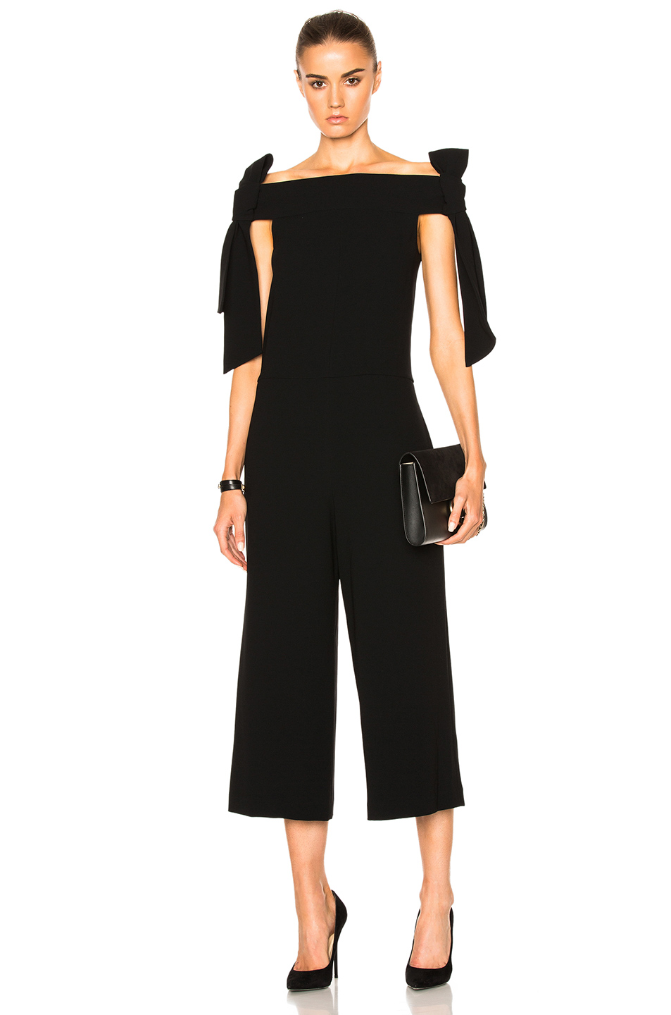 Tibi Tie Shoulder Jumpsuit in Black