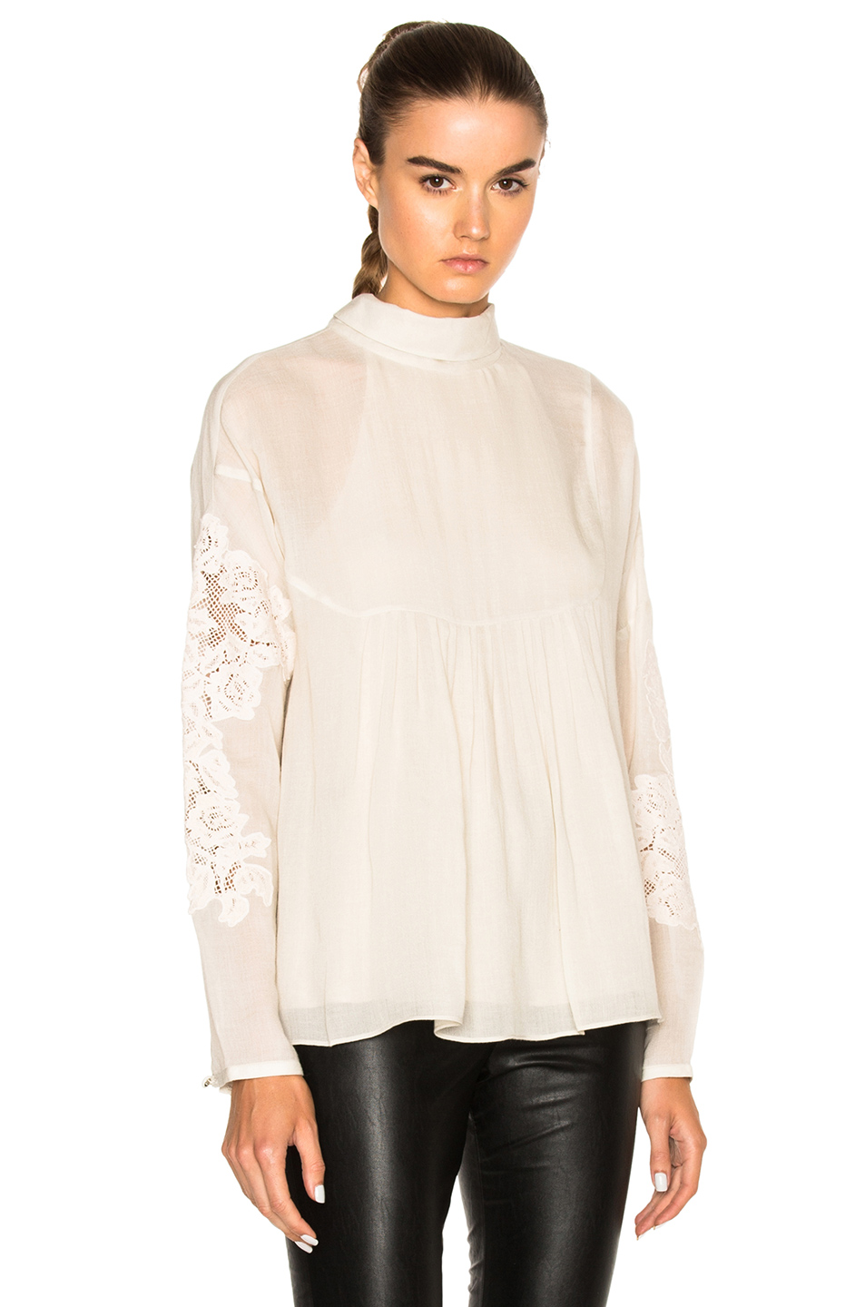 Tibi Embroidered Top in Neutrals