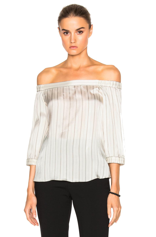 Tibi Striped Off Shoulder Top in White,Stripes