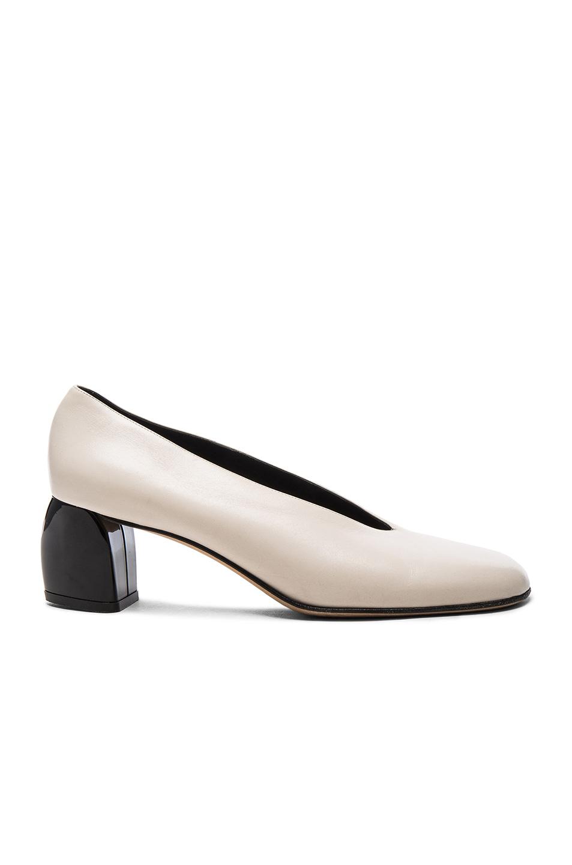 Tibi Leather Gene Heels in White