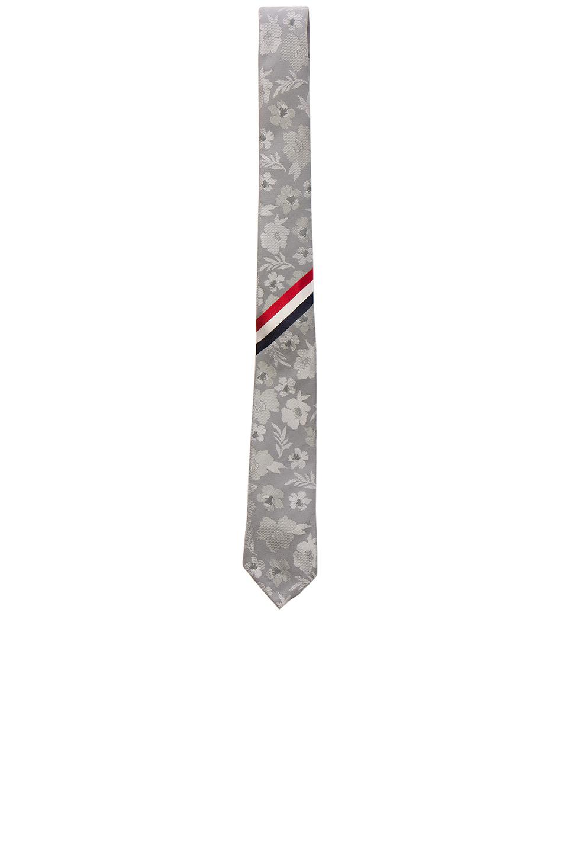Thom Browne Floral Silk Jacquard Tie in Gray