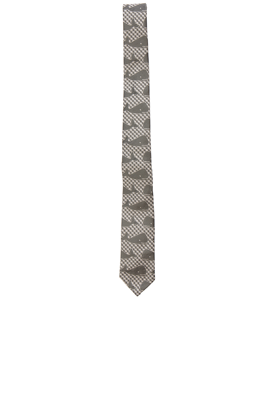 Thom Browne Whale Houndstooth Tie in Gray,Animal Print