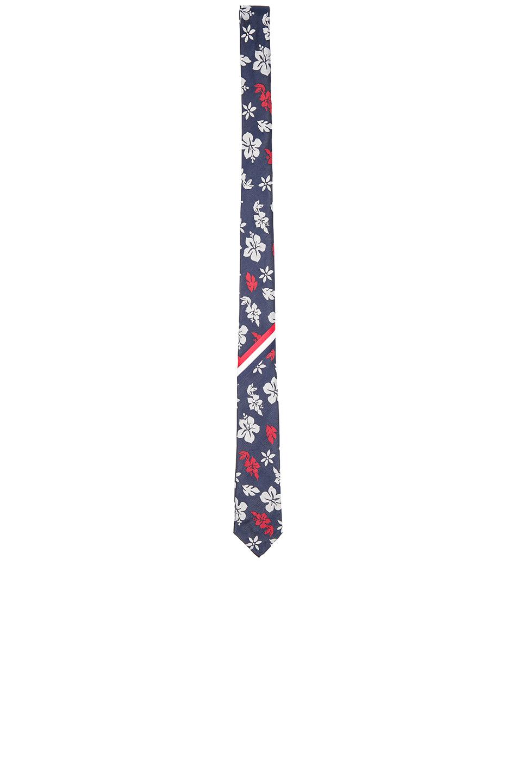 Thom Browne Hibiscus Silk Tie in Blue