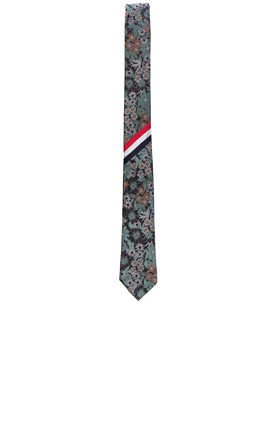 Thom Browne Wildflower Jacquard Tie in Floral,Green