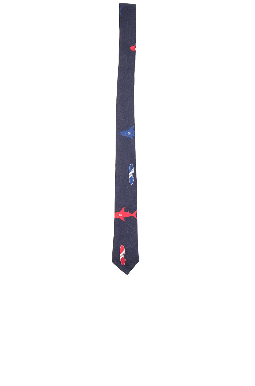 Photo of Thom Browne Shark & Surfboard Silk Tie in Blue - shop Thom Browne menswear