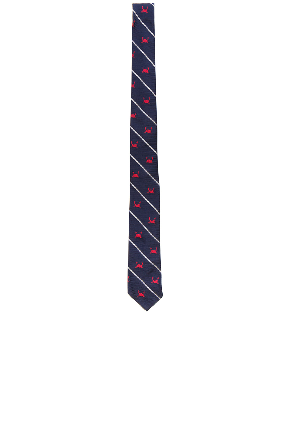 Thom Browne Classic Crab Tie in Blue,Stripes,Animal Print
