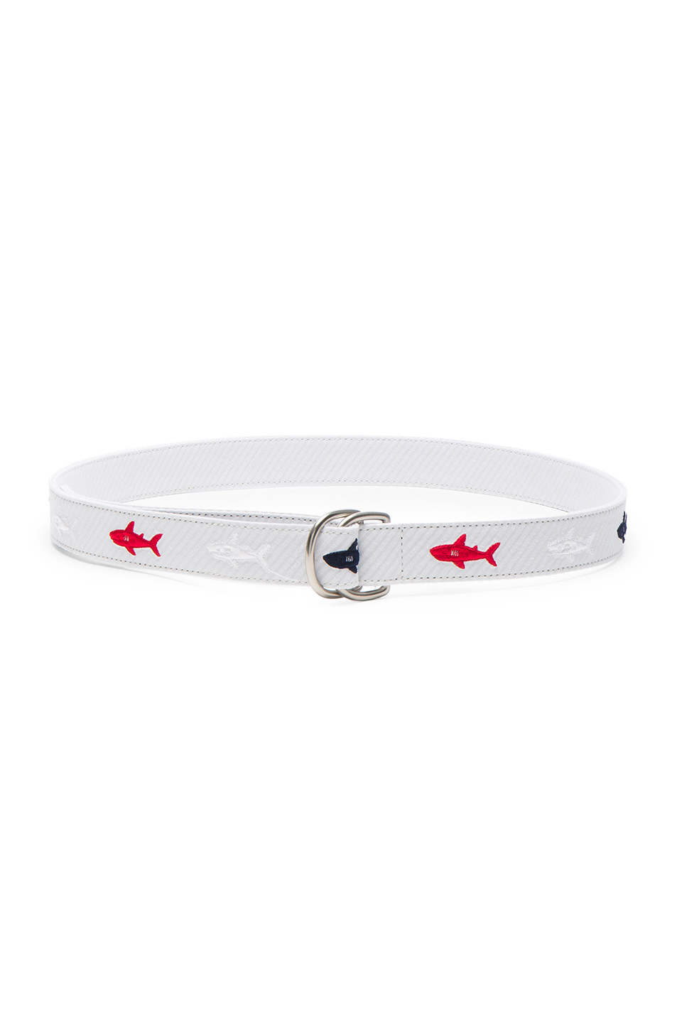 Thom Browne Shark Embroidered Seersucker Belt in White