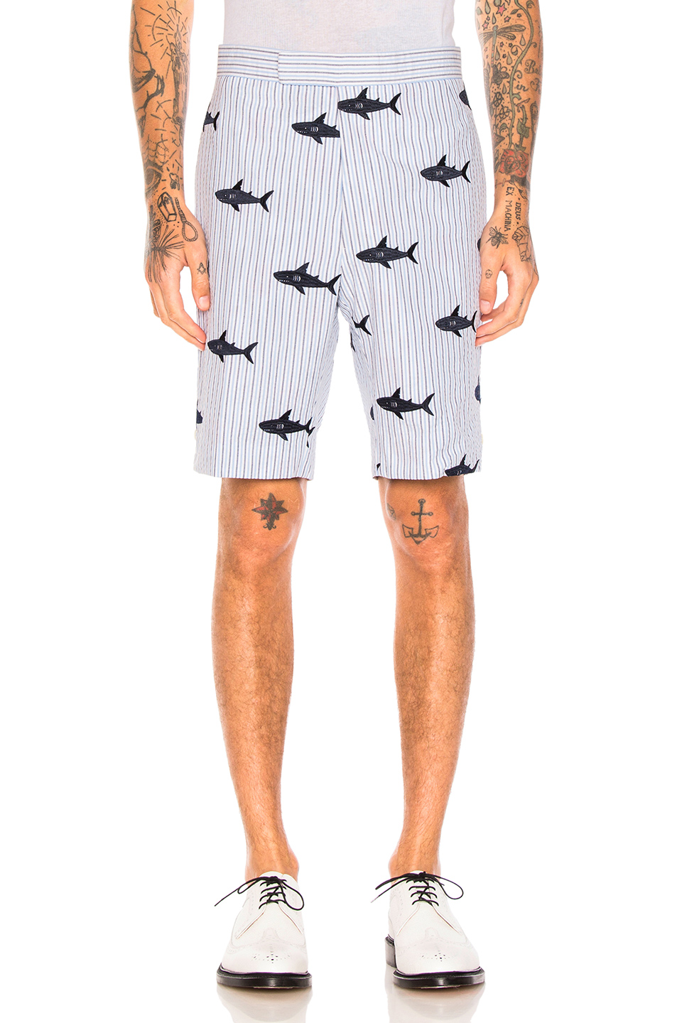 Thom Browne Shark Embroidery Shorts in Blue,Sripes,Animal Print