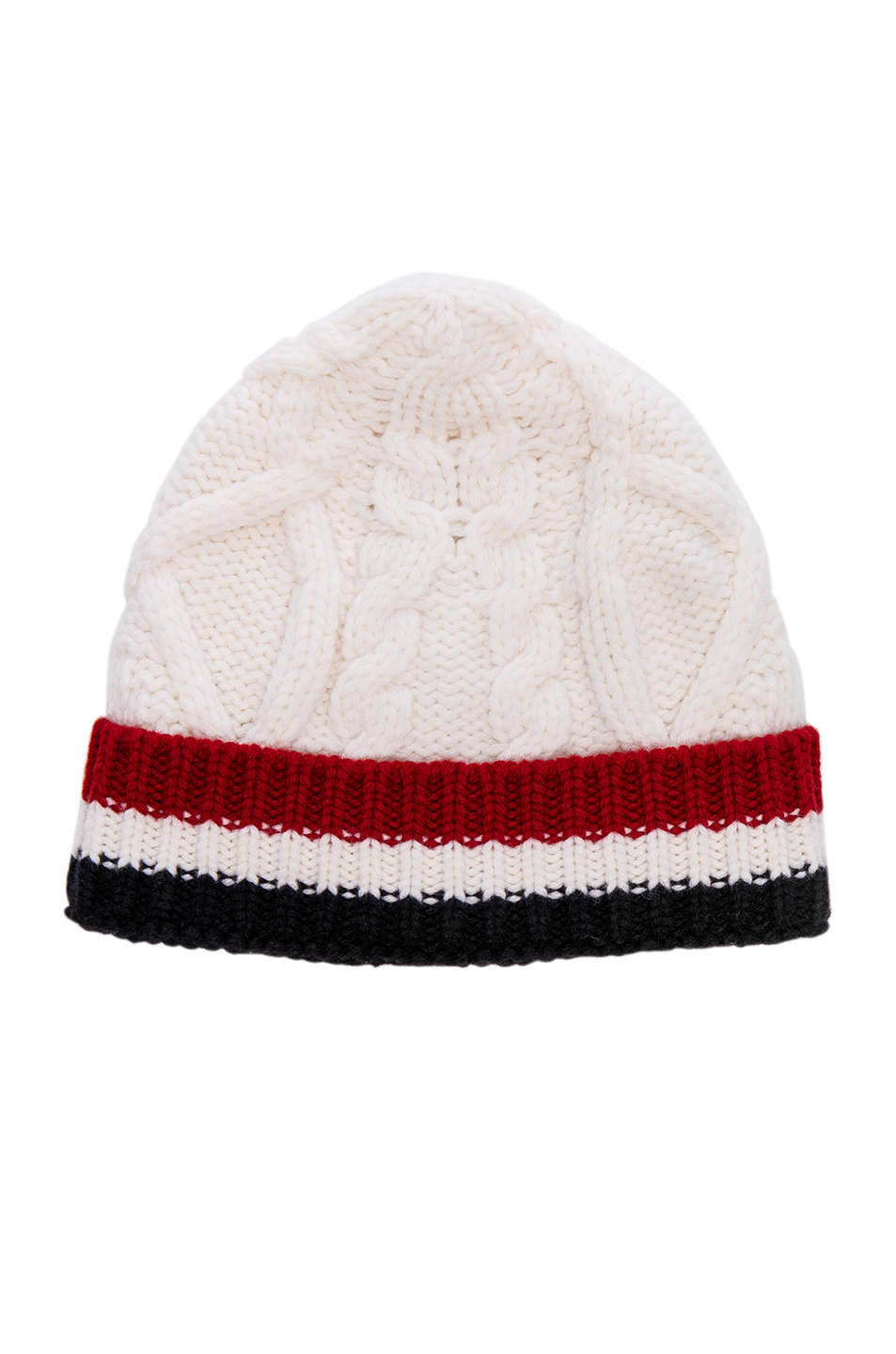 Thom Browne Aran Cable Hat in White