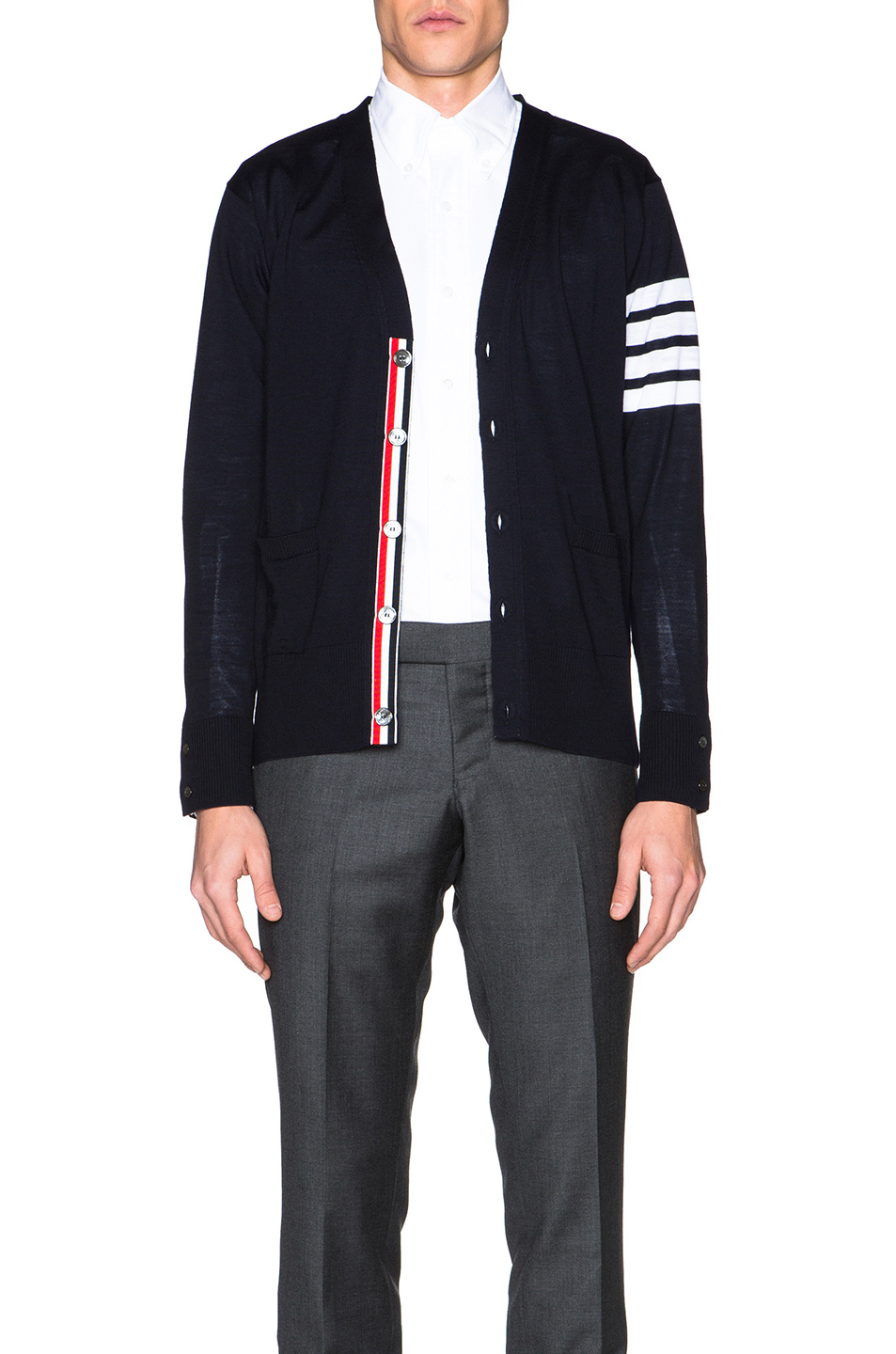 Thom Browne Classic V Neck Cardigan in Blue