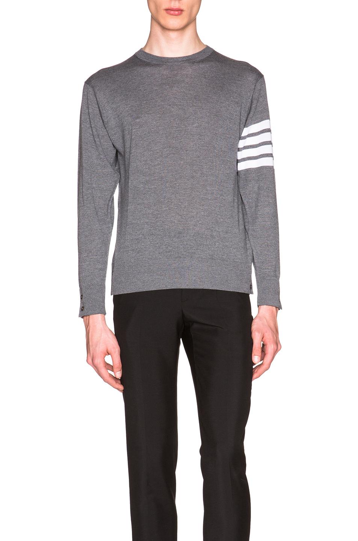 Thom Browne Classic Merino Crewneck Sweater in Gray