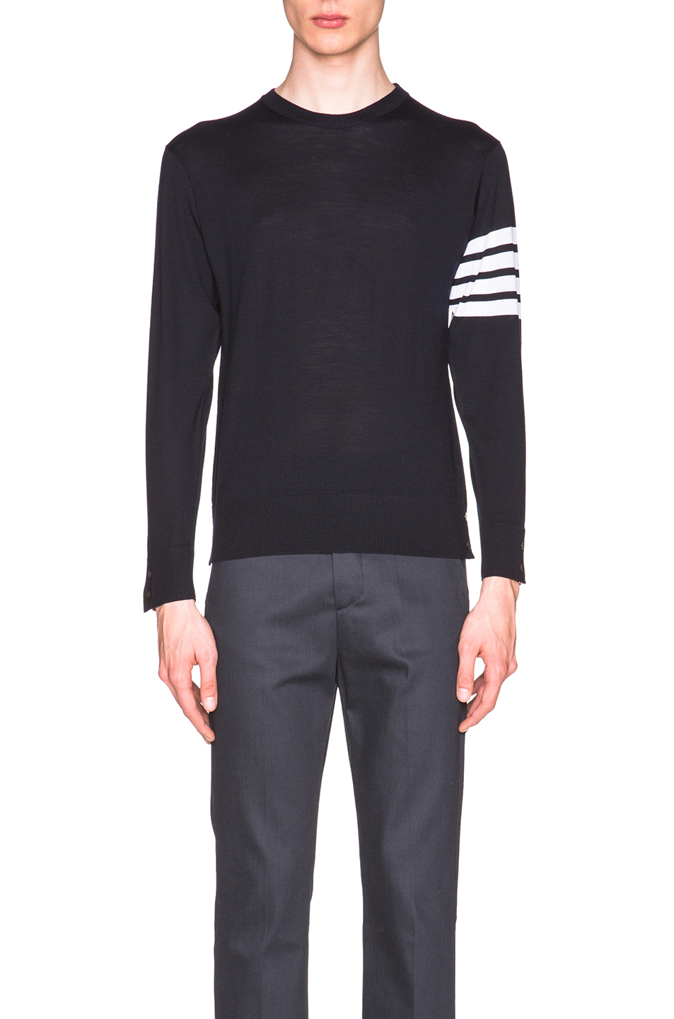 Thom Browne Classic Merino Crewneck Sweater in Blue