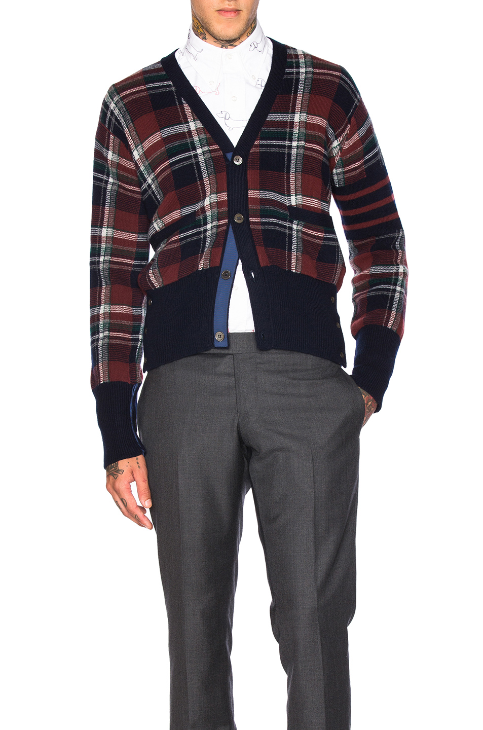 Thom Browne Tartan Plaid Wool Cardigan in Red,Checkered & Plaid
