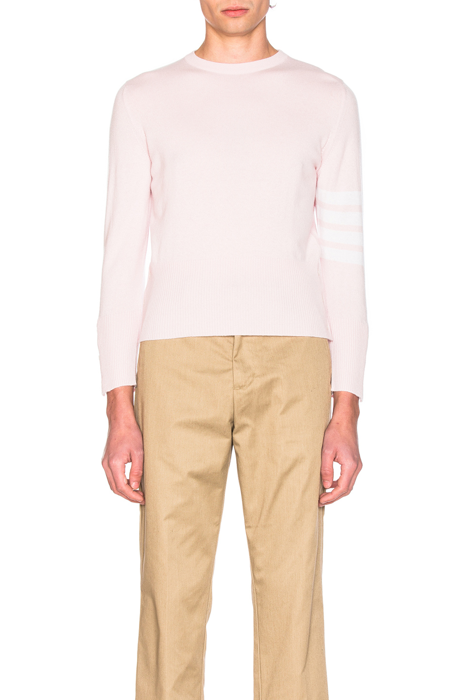 Thom Browne Classic Cashmere Crewneck Sweater in Pink